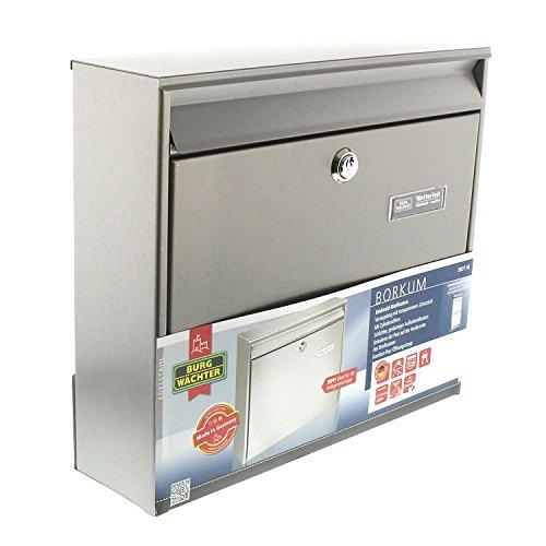 BURG-WÄCHTER, Edelstahl-Briefkasten mit Öffnungsstopp, A4 Einwurf-Format, Borkum 3877 Ni, Edelstahl - 7