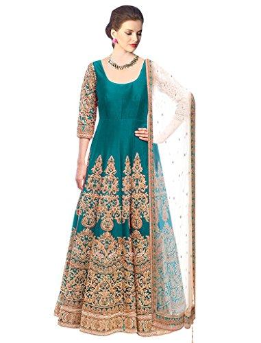 Sancom Rama Colored Bhagalpuri Semi Stitched Salwar Kameez-ES70441