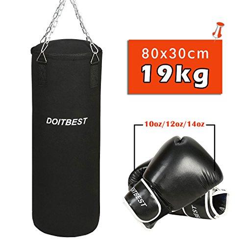 CCLIFE Boxsack gefüllt 19KG / 25KG Set mit Deckenhalterung Stahlkette Trainingshandschuhe 10oz/12oz/14oz, Größe:12 oz, Farbe:19kg Boxsack