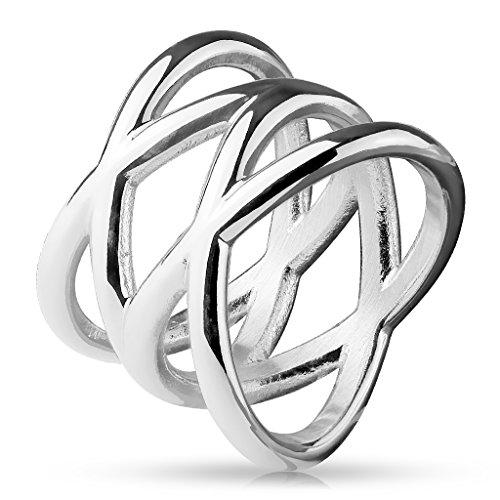 kelnder DOPPELTES X Band-Ring Chirurgenstahl 316L Verlobungs-Ring Partner-Ring Trau-Ring Silber, Gold, Roségold 47(15)-60(19) ()