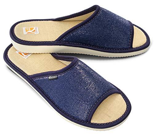 Bosaco Zapatillas De Casa Mujer Pantuflas De Lujo Casa Para Mujer (40, Navy 1)