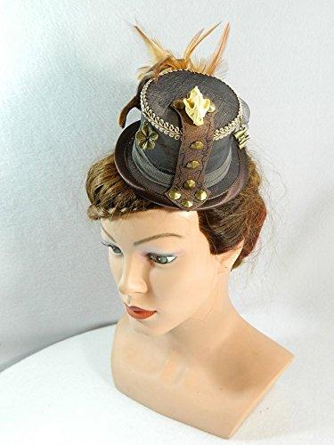 Mini Zylinder braun Minihat Damenhut Fascinator Hut Steampunk Dieselpunk Bibi Chapeau Hat Wedding Bridal Gothic (Dieselpunk Kostüme)