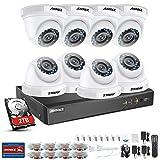 ANNKE Kit de Seguridad 3MP H.264+ DVR 8+2 Canal y 8 Cámaras CCTV de Luz Estelar videovigilancia para hogar y Negocio (8CH 5-en-1 DVR Onvif cámara 2MP Starlight IP66 Interior/Exterior)--2TB HDD