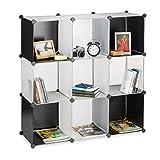 Relaxdays Regalsystem Kunststoff, offenes Regal, Raumtrenner Stecksystem, Standregal 9 Fächer, DIY, schwarz-transparent