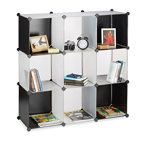 Relaxdays 10021980_488 scaffale componibile in plastica, aperto, divisorio, sistema a incastro, 9 scomparti, nero-trasparente