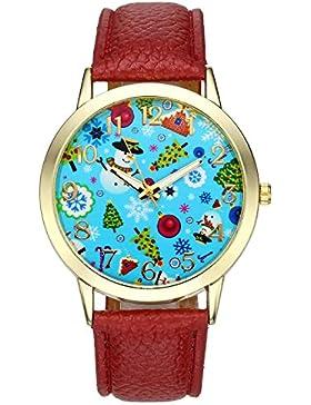 JSDDE Weihnachtsuhr Cute Damen Mädchen Weihnachtsbaum Weihnachts-Schneemann Armbanduhr Kunstleder Quarzuhr,Weinrot