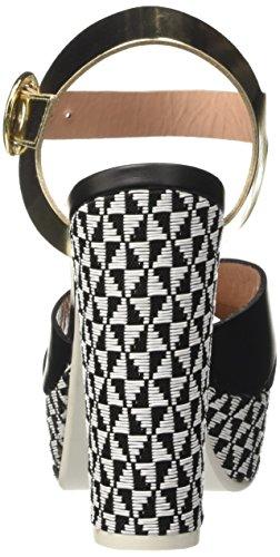 Pollini 436, Escarpins femme Multicolore (Black Calf Pu-Platinum Lamè Pu-White-Black Pvc Windmill)