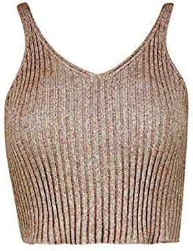 Janisramone - Camiseta sin mangas - Top corto - Sin mangas - para mujer