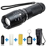 BYBLIGHT 800 Lumens CREE T6 Tactical Flashlight Torch, Adjustable Focus LED Flashlight with USB Charger and 26650 Rechargeable Battery, 5 Modes and Waterproof LED Torch for Indoor and Outdoor Use