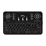 Meilleur clavier sans fil avec Touchpad Mouse–Q92,4GHz Mini clavier sans fil rétroéclairé coloré, Handheld télécommande pour Android TV Box, Windows PC, HTPC, IPTV, Raspberry Pi, Xbox 360, PS3, PS4,