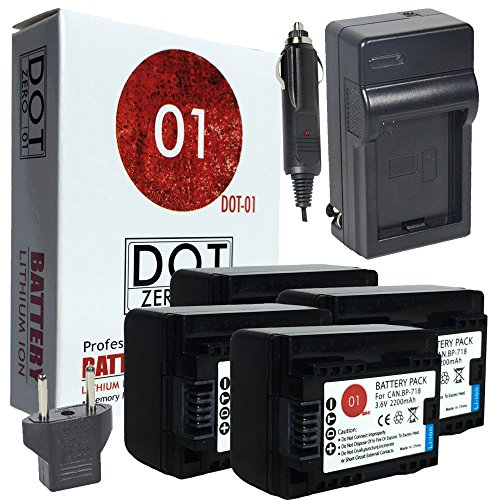 4X DOT-01 Brand Canon HF R700 Batteries And Charger For Canon HF R700 Camera And Canon HFR700 Battery And Charger Bundle For Canon BP718 BP-718
