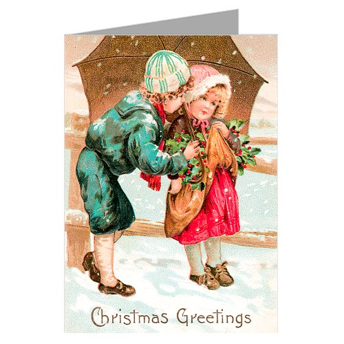 Victorian Young Couple On Christmas Holiday, Vintage Greeting Cards boxed set