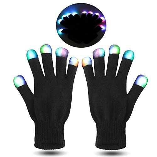 e 7 Farben Finger Beleuchtung Handschuhe (Weiß Rave Handschuhe)