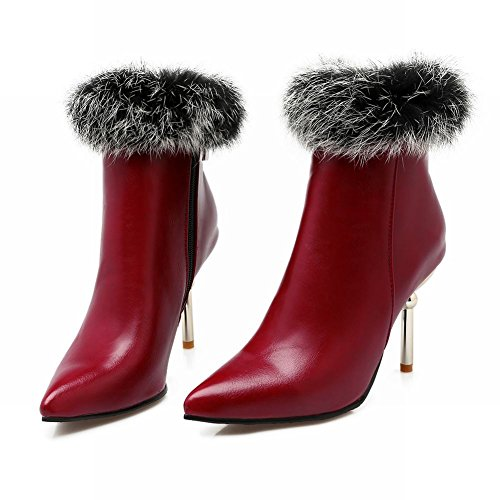 Mee Shoes Damen spitz Pompon high heels Ankle Boots Weinrot