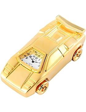 Royaltime Analog Miniaturuhr Tischuhr Standuhr mit Quarzwerk und Motiv Auto 300402000079 Goldfarbiges Gehäuse...
