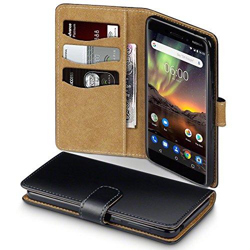 TERRAPIN, Kompatibel mit Nokia 6 2018 / Nokia 6.1 Hülle, Handy Leder Brieftasche Case Tasche mit Standfunktion Kartenfächer - Schwarz mit Hellbraun Interior