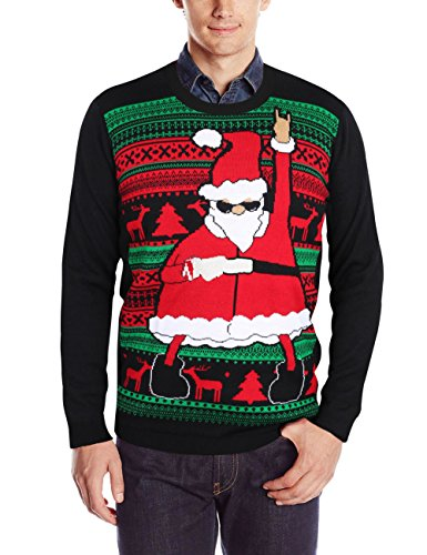 Unisex Weihnachten Pullover,Leapparel Herren und Damen Strickpullover Ugly  Christmas Sweater Jumper Fasching Kostüm Tanzen Weihnachtsmann Schwarz