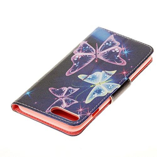 Coque iPhone 7 Plus, Etui iPhone 7 Plus, ISAKEN Peinture Style la couleur PU Cuir Flip Magnétique Portefeuille Etui Housse de Protection Coque Étui Case Cover avec Stand Support et Carte de Crédit Slo Papillons scintillants