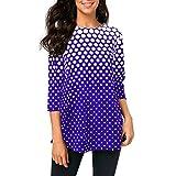 iYmitz Mode DamenO-AusschnittT-Shirt-OberteileHülse mit Drei ViertelnPolka Dot Print Bluse(Violett,2XL)