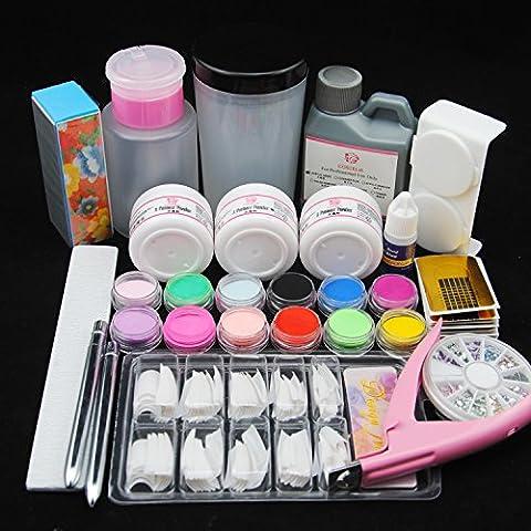 Coscelia Kit Manucure 120ml Liquide Acrylique Poudre Strass Accessoire Décor Nail Art Set