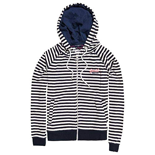Superdry Zipper Damen BEACH TERRY ZIPHOOD Hurricane Navy/chalk White, Größe:S Beach Sweatshirt