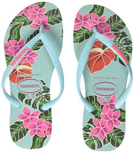 Havaianas-Slim-Floral-Chanclas-Para-Mujer-Azul-Ice-Blue-3940-EU