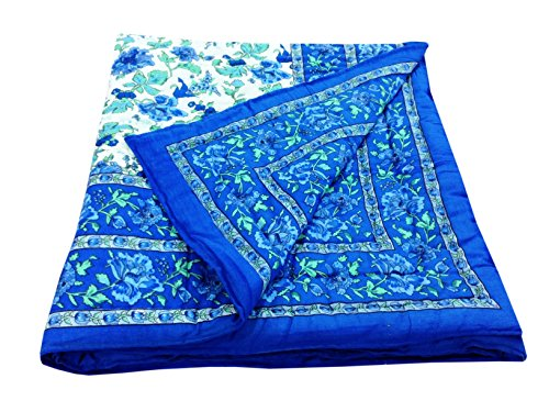 Shop Rajasthan Blue Floral Reversible Floral Print Cotton Jaipuri Modern Single Bed...