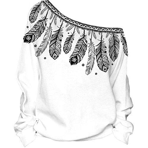 Nawoshow Frauen-Damen Anker weg von der Schulter Maxi-Slouchy Sweatshirt Pullover Tops Blusen (Feather B)