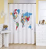 #8: Lushomes Digital World Map Design Shower Curtain with 12 Eyelets and 12 Hooks (Single pc, 71'' x 78'', 180 x 200 cms)
