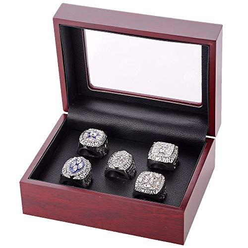 ZNKVJ Manns Super Schüssel Dallas Cowboys Einstellen Meisterschaft Ringe,Silber,Größe 65 (20.7)