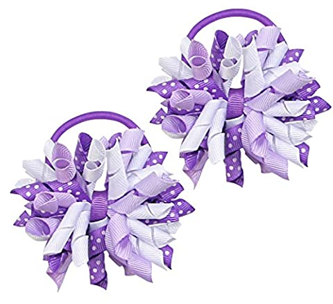 HipGirl Boutique Girls/Women Korker No Crease Ouchless Hair Bow Ponytail Holders - Purple -
