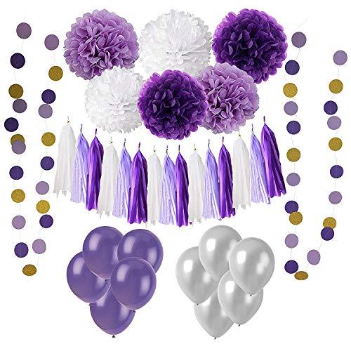 6 Seidenpapier Pompons Pom Pom Blumen und 15 Quasten Girlande, 2 Polka Dot Papier Girlande, 20 Luftballons Latexballons für Geburtstag, Hochzeit, Baby Dusche, Parteien, Hauptdekorationen, Partei Dekoration - Lila, Lavendel und Weiß