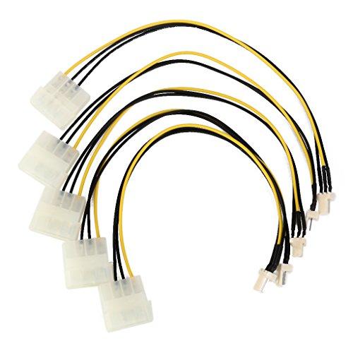 4-Pin Molex IDE auf 3-Pin CPU Gehäuselüfter Chassis Netzanschluss Kabel 5 Stk.
