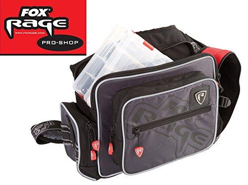 Fox Rage Voyager Medium Shoulder Bag, Angeltasche inkl. 2 Angelboxen / Tackleboxen, Anglertasche zum Spinnfischen, 35x25x16cm, Fox Tasche