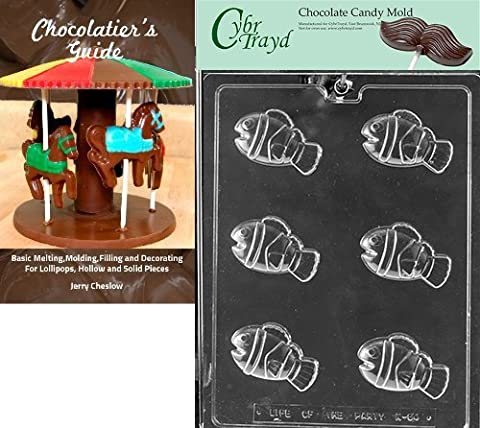 CybrTrayd Bk-N064 Striped Clown Fish Chocolate Candy Mold with Guide Instructions Book Manual,