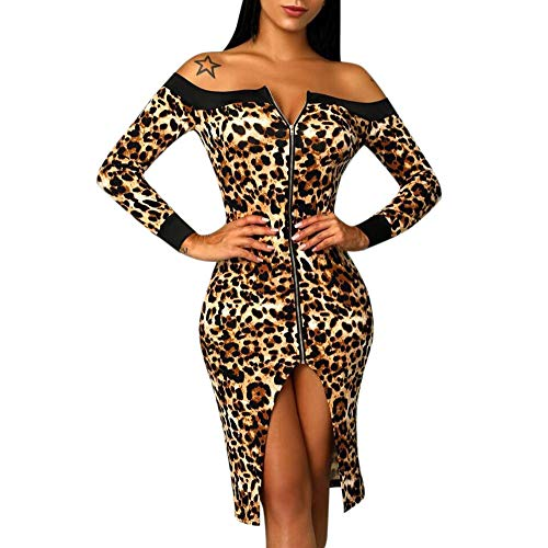 Lenfesh Mujer Vestido de Fiesta, Vestido Ajustado de Mujer Estampado de Leopardo Vestido con Hombros Descubiertos Sexy de Manga Larga Otoño Invierno