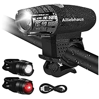 Ailiebhaus Bike LED Lights Set, Water Resistent Bicycle Front and Rear Light Rechargeable 4 Modes Energy Saving Safety (1 x Head Light, 2 x Tail Lights)
