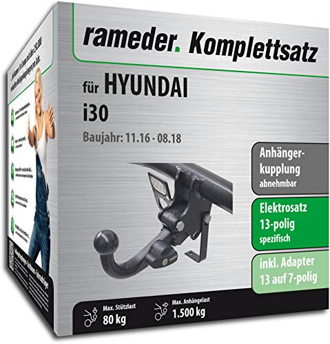 Rameder Komplettsatz, Anhängerkupplung abnehmbar + 13pol Elektrik für Hyundai i30 (156431-37426-1)