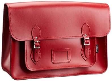 Zatchels Womens Cross-Body Bag Red CLASSIC LEATHER SATCHEL 17.5
