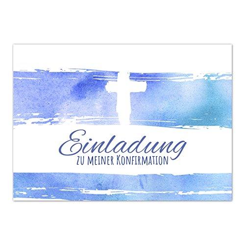 15 x Einladungskarten Konfirmation mit Umschlag/Modern mit Kreuz und schöner Schrift/Konfirmationskarten/Einladungen zur Feier