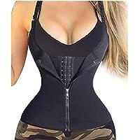 VESNIBA Women's Zipper Sweat Sauna Body Shaper Slimming Vest Waist Trainer Tank Top Shirt Black Large