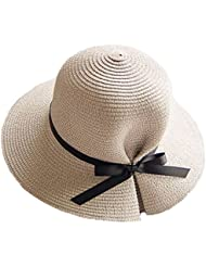Sombrero de Jipijapa de Paja Verano Primavera Plegable Mujer Niñas