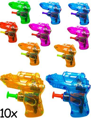 HomeTools.eu® - 10x Mini Wasser-Pistole, Strand-Spielzeug, Spritz-Pistole Wasser-Pistole, Wasser-Spritze, der Badespass, bunt, 10er Set