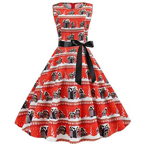 Canifon Damen Jahrgang Weihnachten Print Elegant Kleider Abendkleid Frauen Rundhals Mehrfarbig Ärmellos Bow Hohe Taille Partykleid