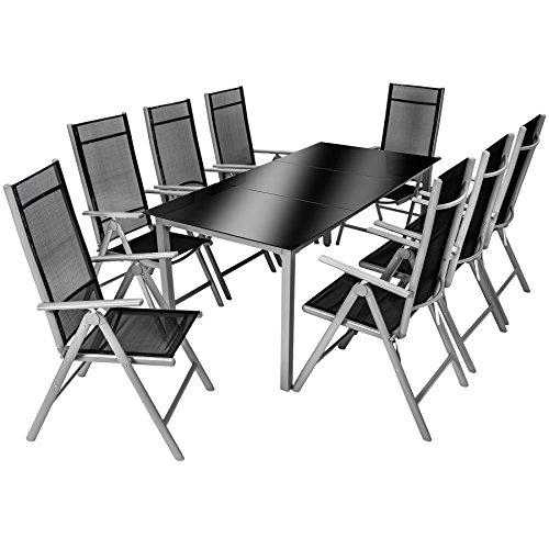 TecTake Aluminium 8+1 Salon de Jardin Ensemble sièges Meubles Chaise Table en Verre - diverses Couleurs au Choix - (Gris argenté | No. 402165)