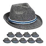 Relaxdays 10x Trachtenhut Bayern, blau-weiße Kordel, Filzhut mit Krempe, Bayernhut, Polyester, Einheitsgröße, Seppelhut dunkelgrau