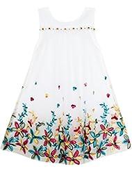 Sunny Fashion Robe Fille Sans manches Licou Fleur Multi Couche Mousseline de soie 4-14 ans