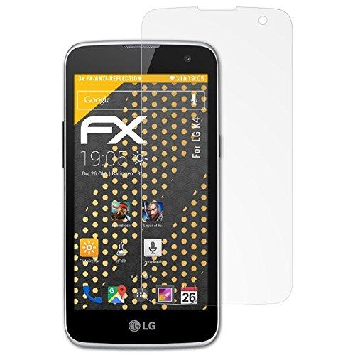 atFolix Panzerfolie kompatibel mit LG K4 Schutzfolie, entspiegelnde & stoßdämpfende FX Folie (3X)
