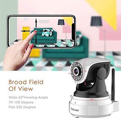 Sricam 720P HD IP Camera, Telecamera di Sorveglianza Wireless, Notturna a Infrarossi, Audio Bidirezionale, Controllo Remoto e Email allarm, Compatibile con iOS / Android / PC by Sricam