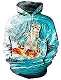 Chicolife Unisex 3d gráfico impreso casual Cool Hoodie Sudadera con capucha  Tela: 60% algodón, 40% poliéster; Forro: Peluche de terciopelo  Un bolsillo de canguro en la parte delantera: Proporciona un espacio de almacenamiento enorme para l...
